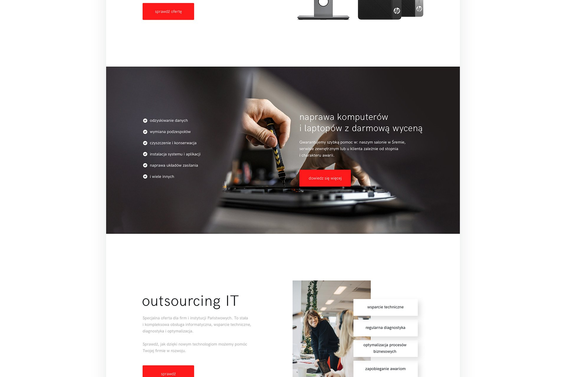strona dla firmy informatycznej