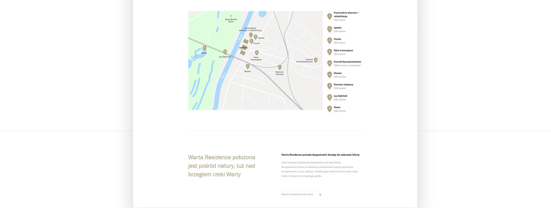 mapa lokalizacji i punktów atrakcyjnych na stronie www dewelopera