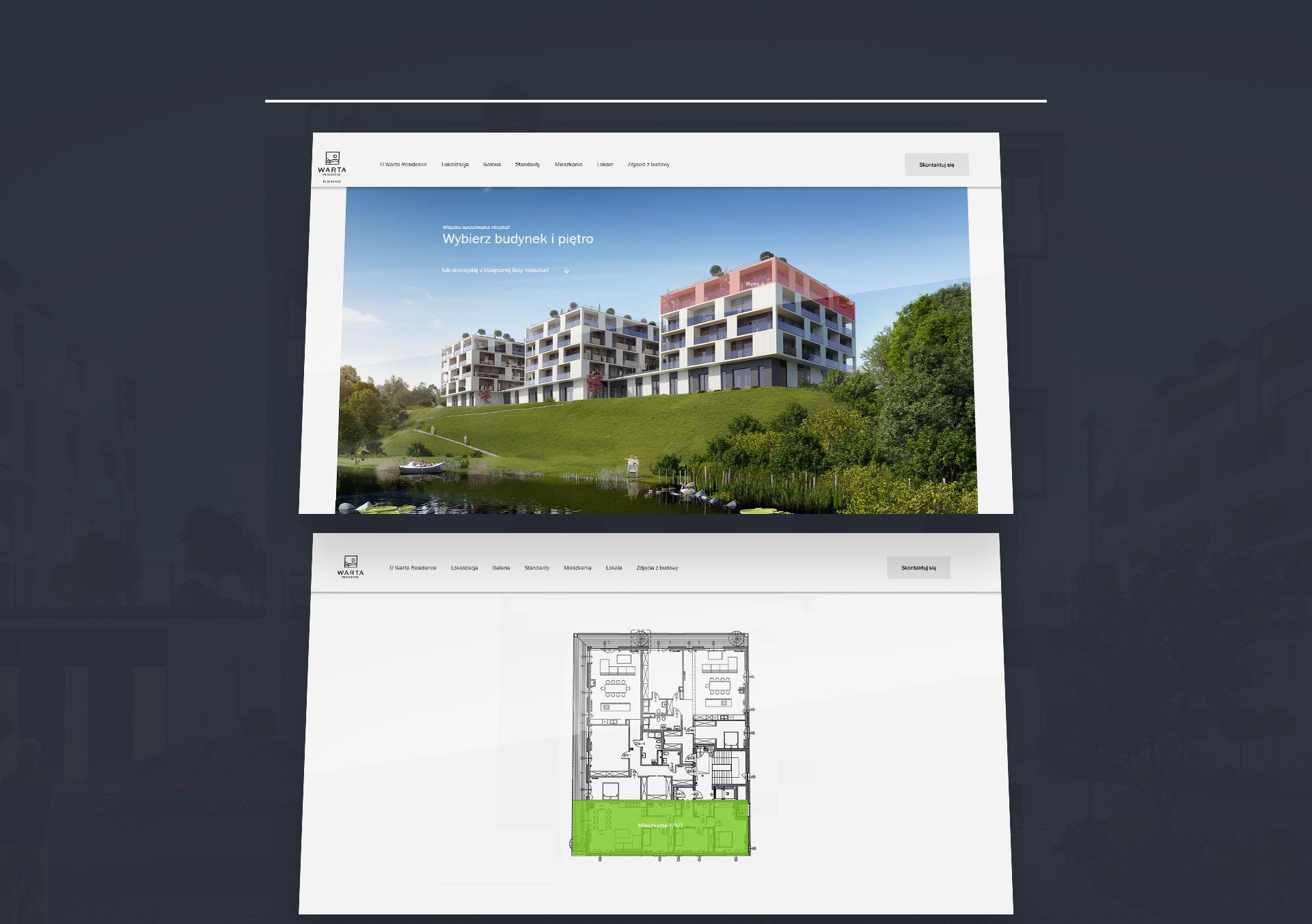 strona internetowa baza mieszkań deweloper warta residence